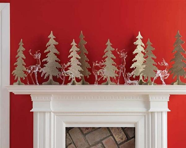 Fireplace-Mantels-Decor-For-Christmas-With-Glass-Deer-And-Flat-Trees