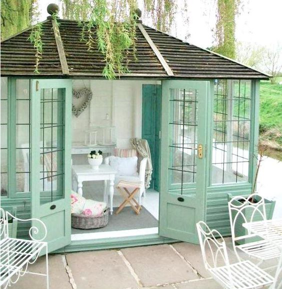 Mint Green, she shed with shabby chic interior