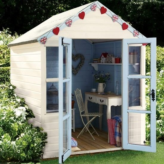 traditional shed design with furniture interior