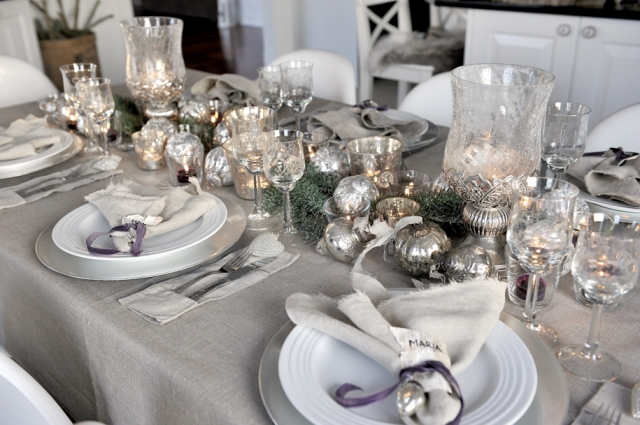 Opulent Grey and Silver / Champagne Christmas Baubles and Glassware
