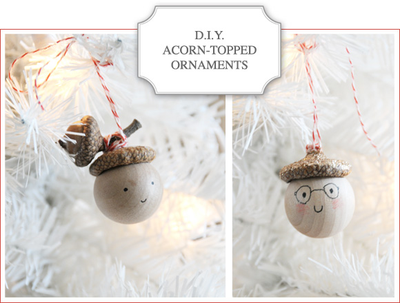 diy acorn topped Christmas ornaments