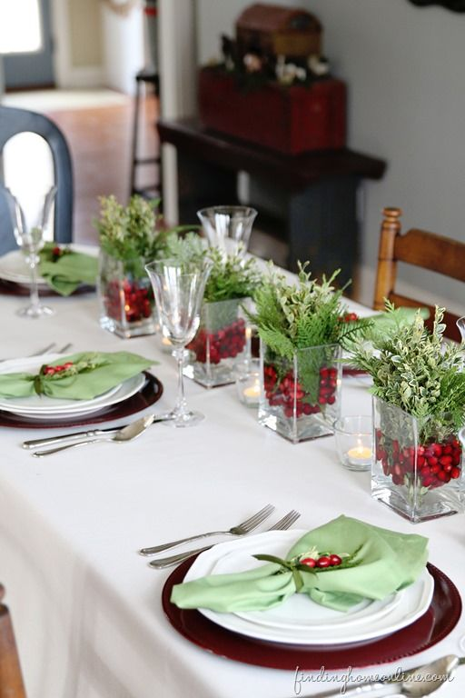Christmas Table Ideas Red and Green Holly and Ivy