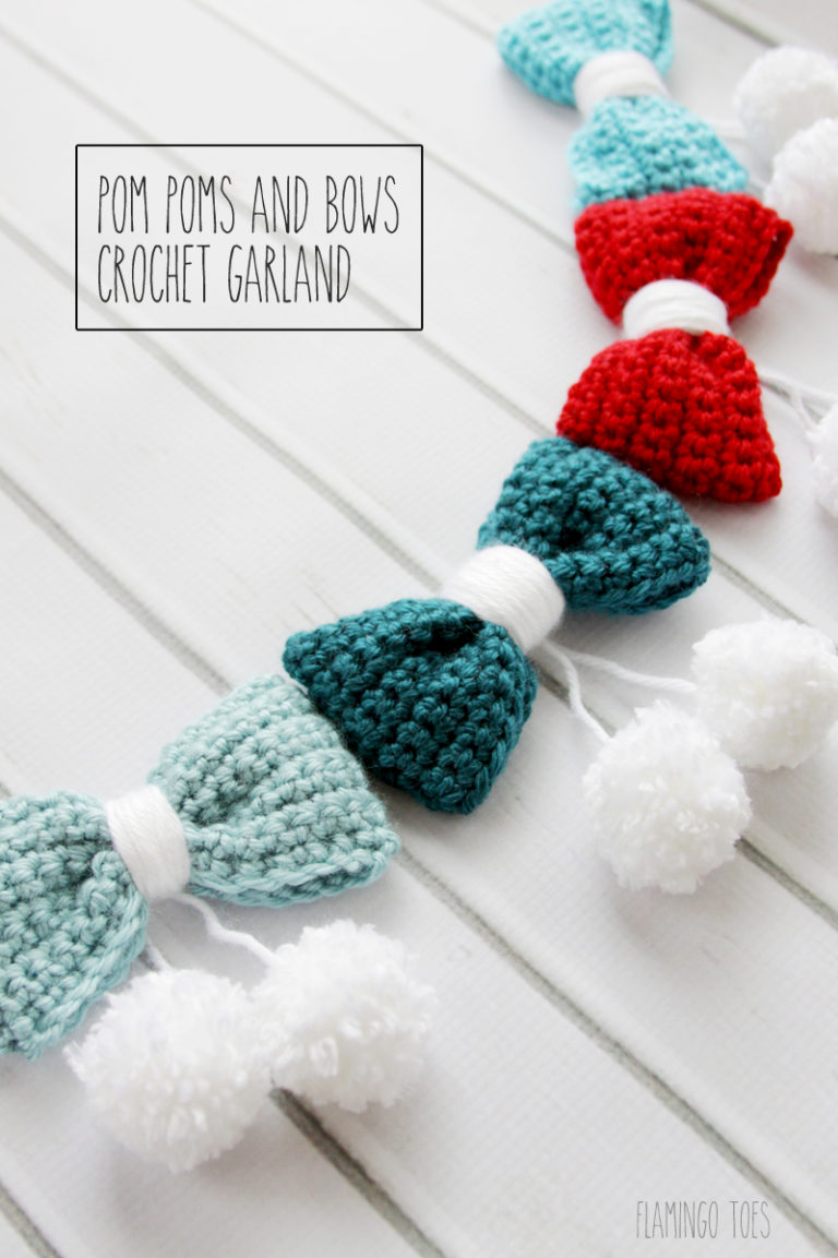 pom pom and bows crotchet garland idea