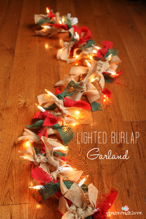 lighted burlap garland idea